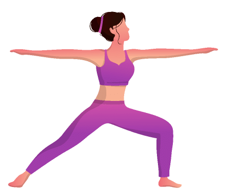 Yoga pose - Virabhadrasana II. It can be practiced easily by the beginners and kids.